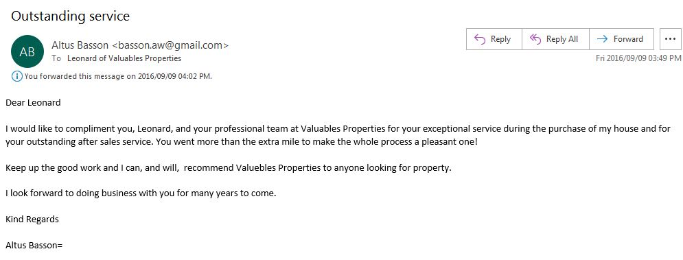 Client acknowledges good service provided.