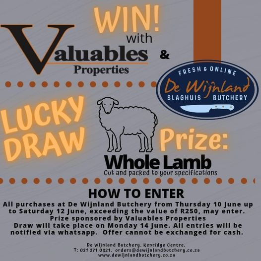Valuables Properties sponsors a whole lamb for the lucky winner