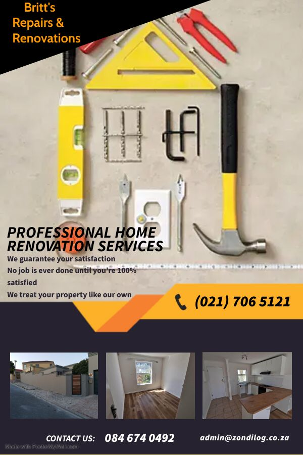 For excellent handyman services including repairs, installations, building and general maintenance contact Taureq Britton. He comes highly recommended.