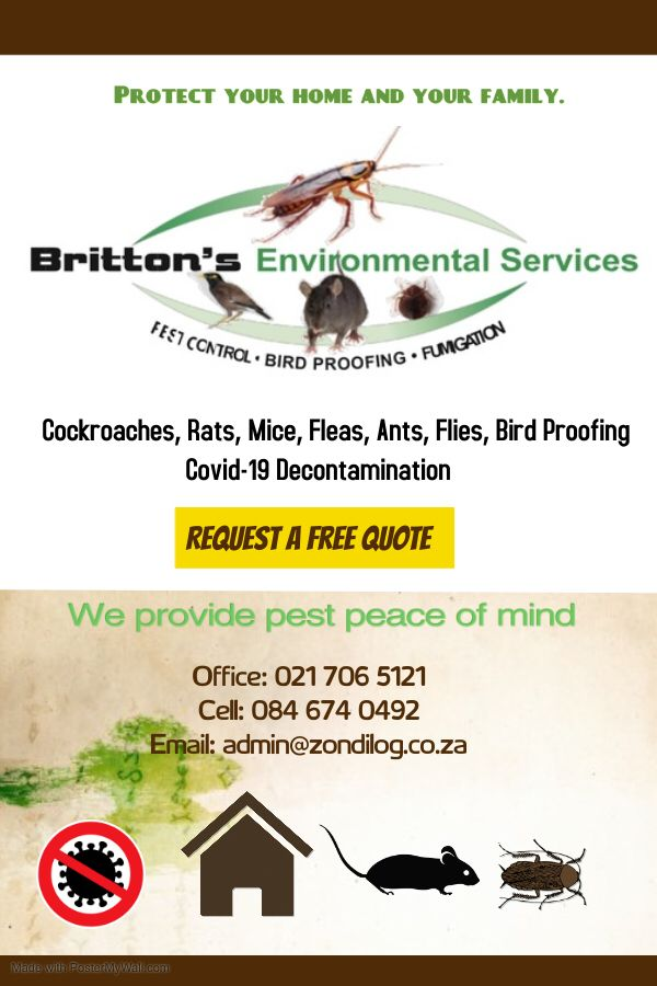 For all your pest control needs contact Taureq of Britts Environmental Services