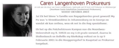 Caren Langenhoven Attorneys attends to tranfers and welcomes clients for a free consultation.